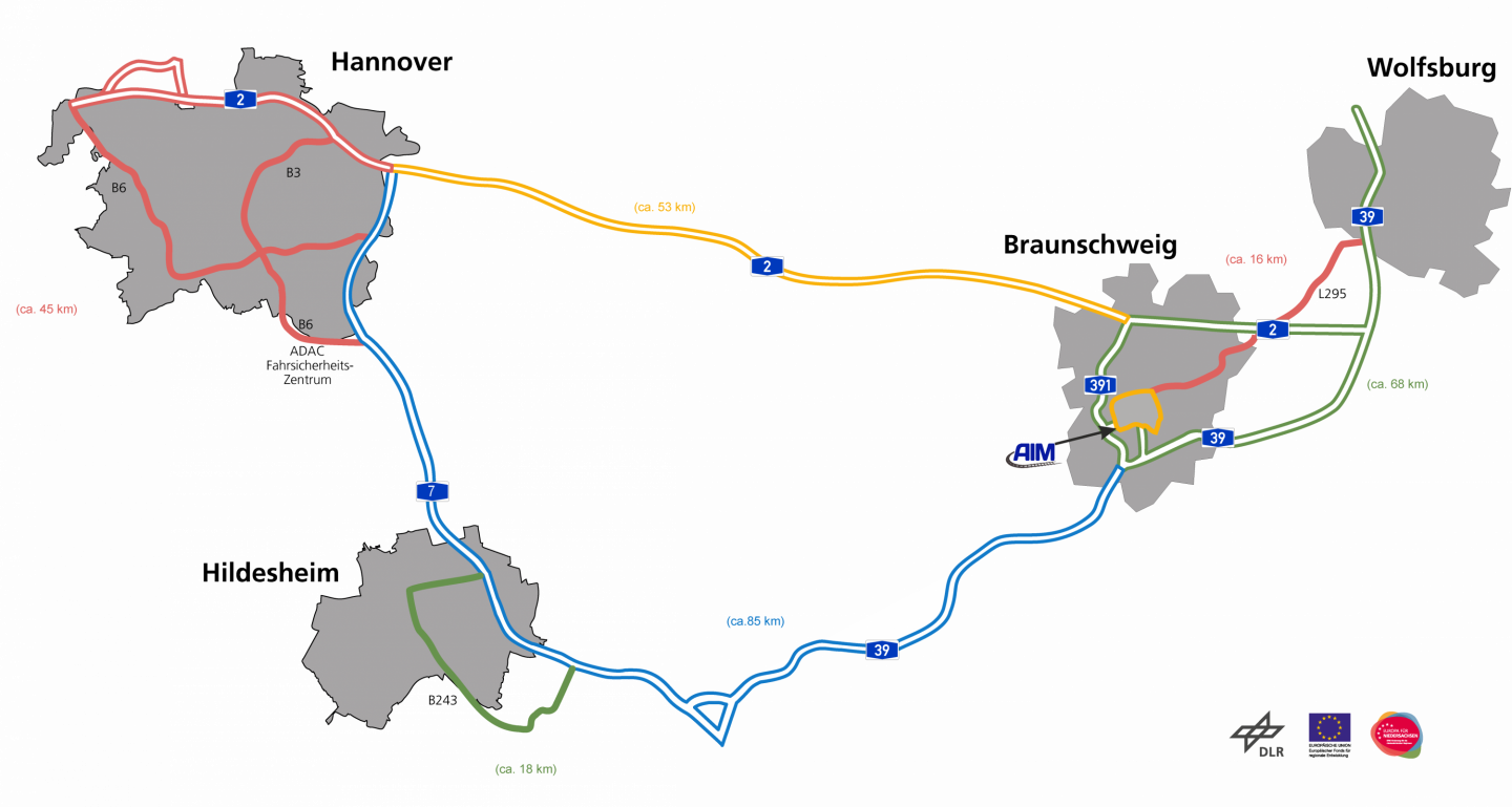 The route of the Test Bed Lower Saxony.