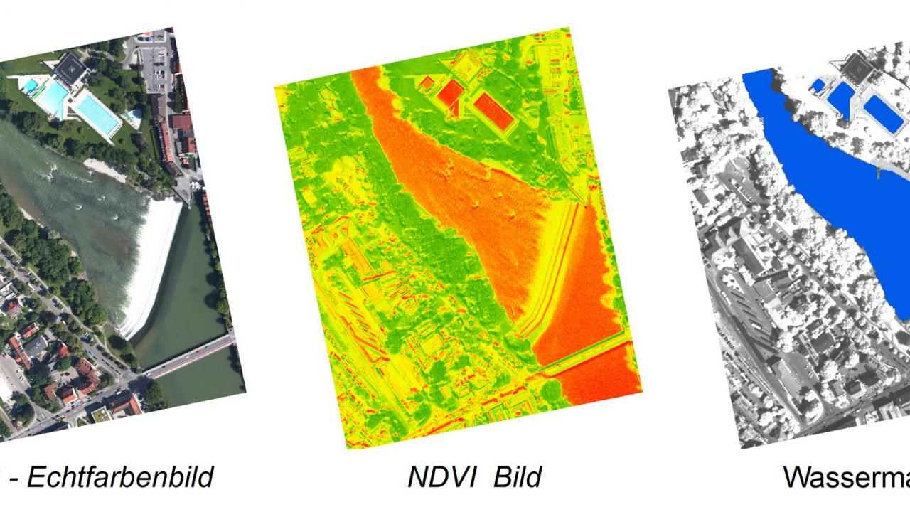 Figure 2: Image sequence using the 3K camera system (location: Landsberg am Lech): Left – true colour composite (RGB), middle – coloured NDVI image, right: derived water mask