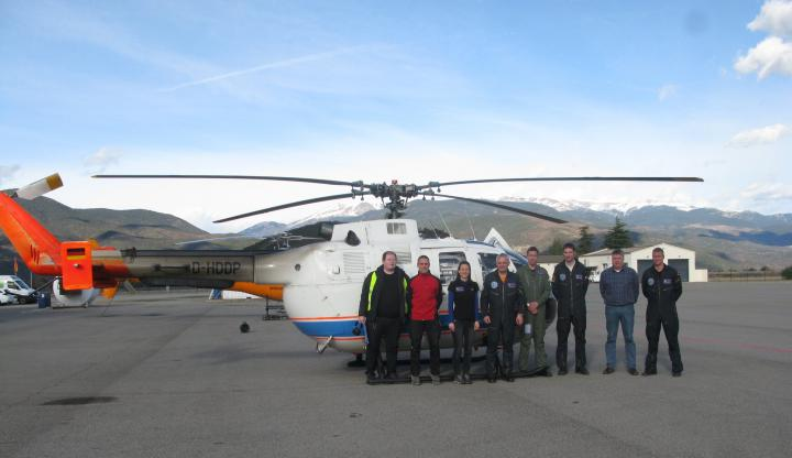 DLR's BO 105 helicopter at the Pyrenees–Andorra Airport in Catalonia